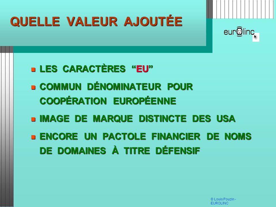 QUELLE VALEUR AJOUTÉE LES CARACTÈRES EU