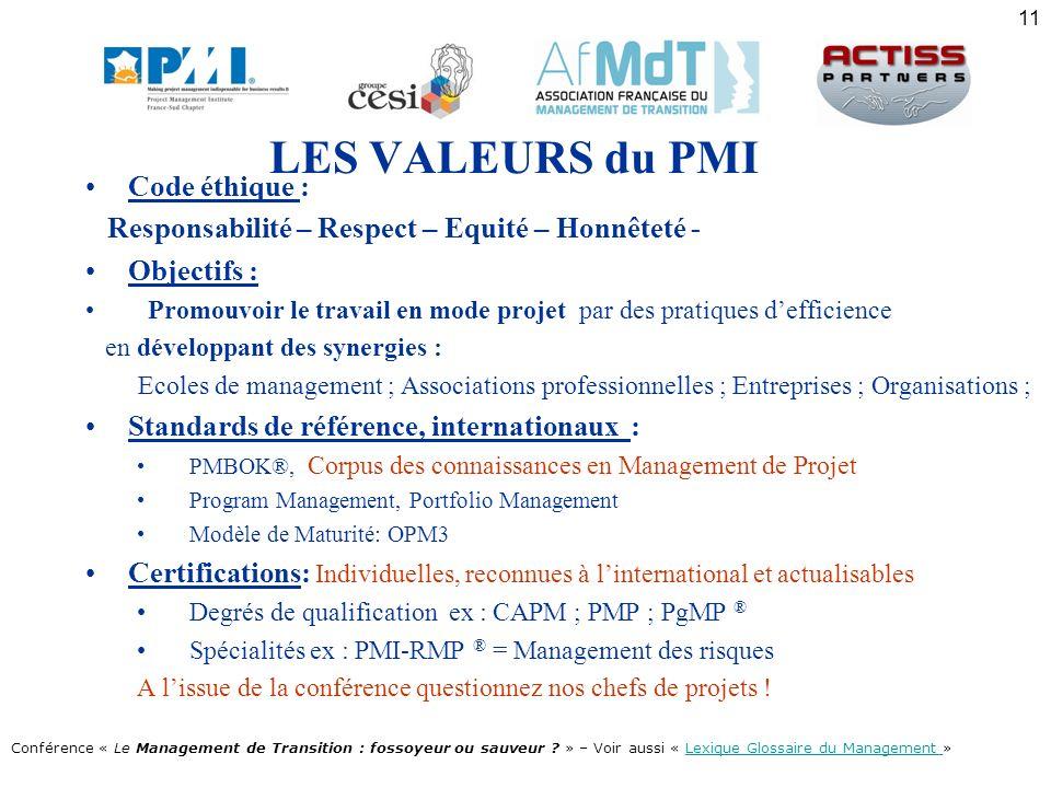 LES VALEURS du PMI Code éthique :