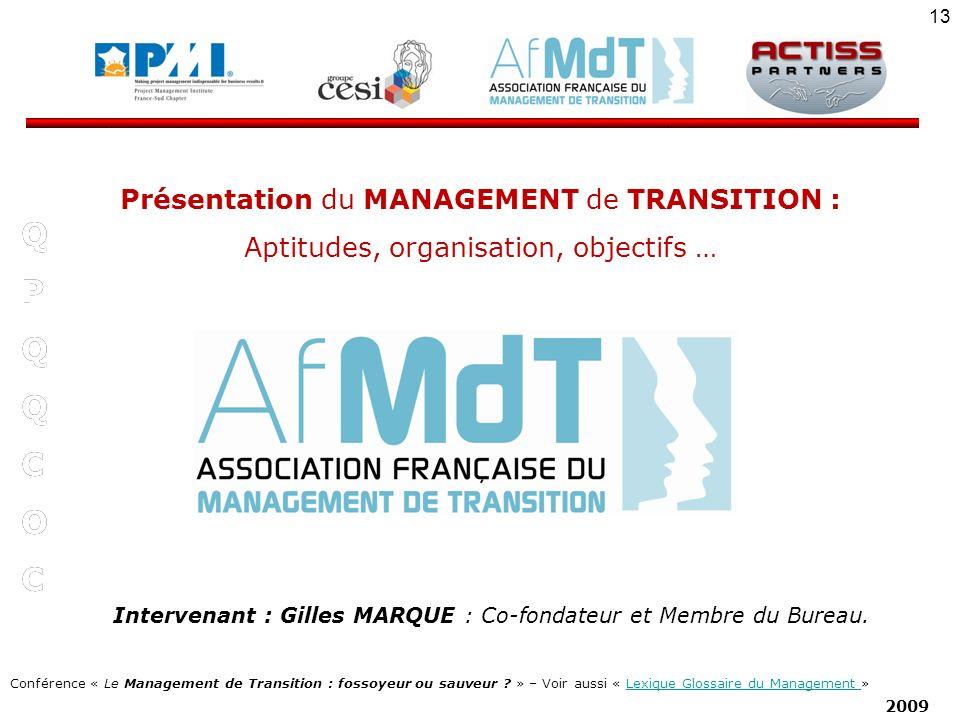Q P C O Présentation du MANAGEMENT de TRANSITION :