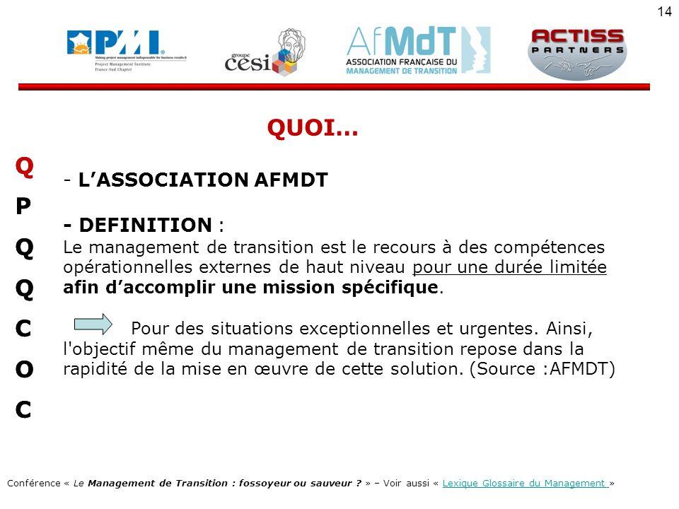 QUOI… Q P C O L'ASSOCIATION AFMDT - DEFINITION :