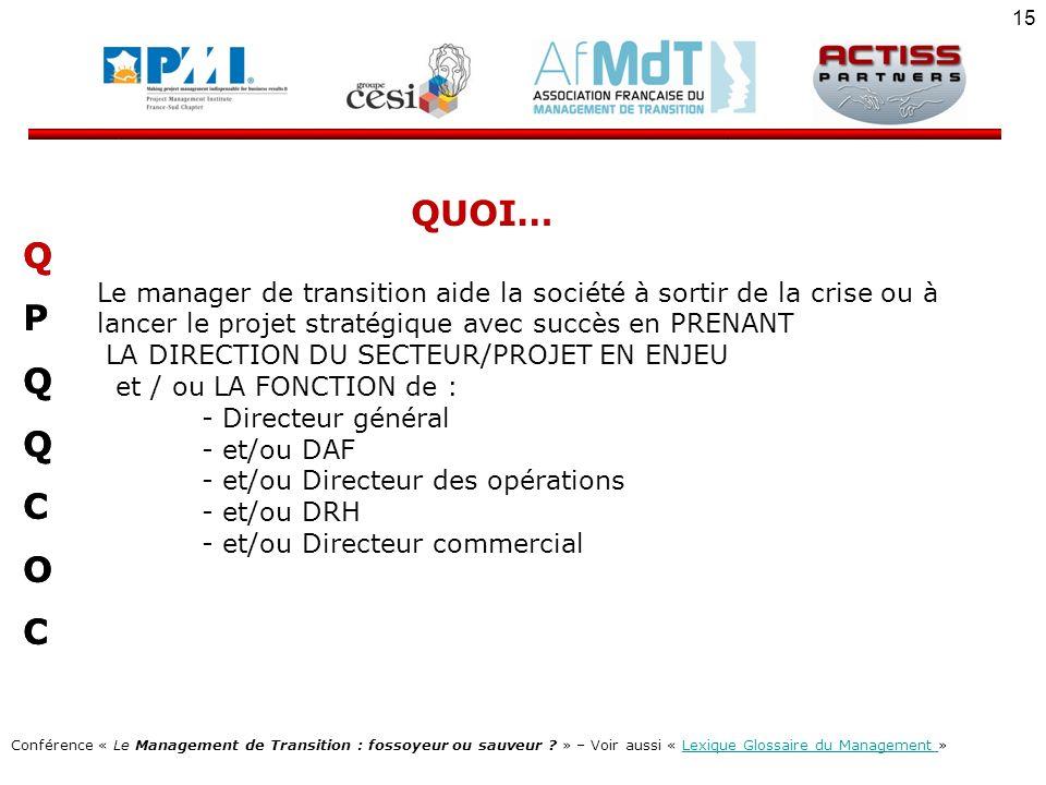 QUOI… Le manager de transition aide la société à sortir de la crise ou à lancer le projet stratégique avec succès en PRENANT.