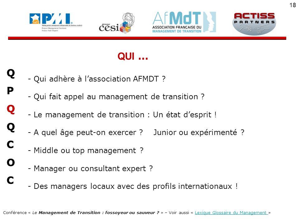 QUI … Q P C O Qui adhère à l'association AFMDT