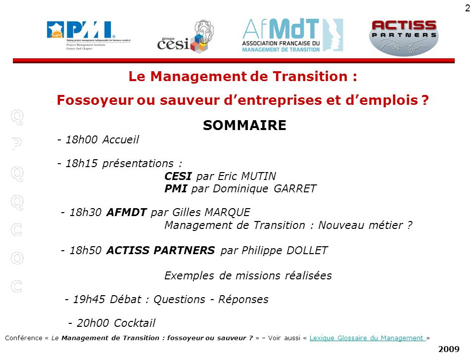 Q P C O Le Management de Transition :