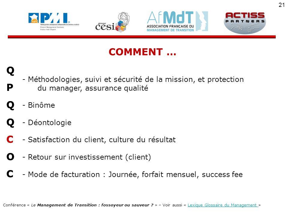 COMMENT … Méthodologies, suivi et sécurité de la mission, et protection. du manager, assurance qualité.