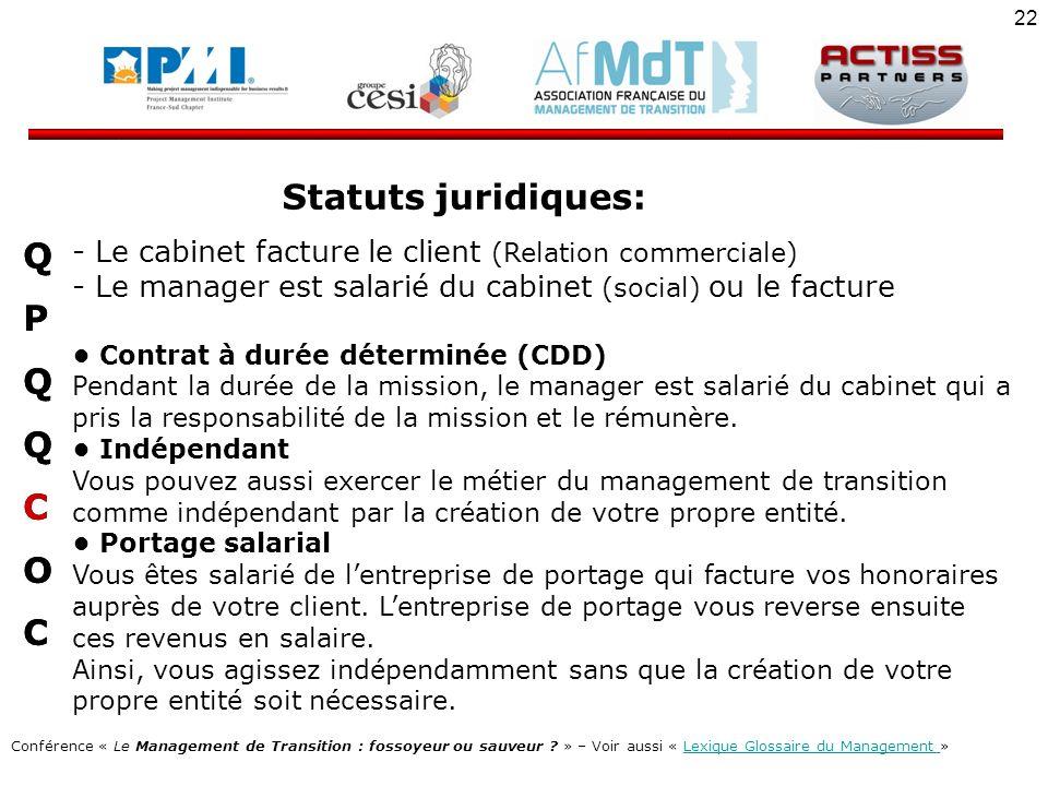 Statuts juridiques: Q P C O