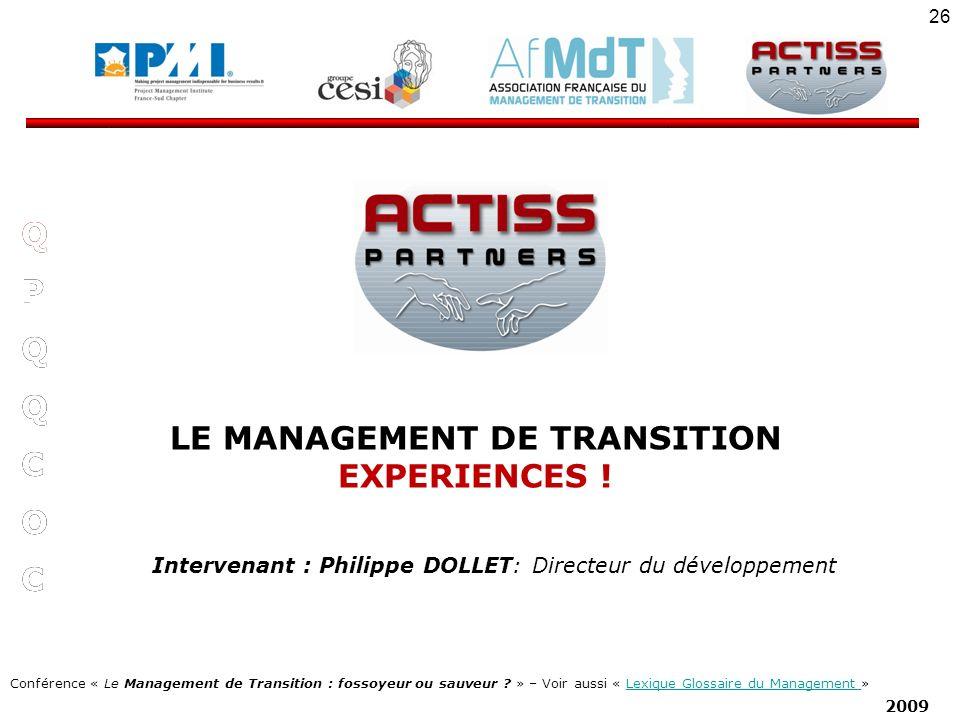 LE MANAGEMENT DE TRANSITION EXPERIENCES !