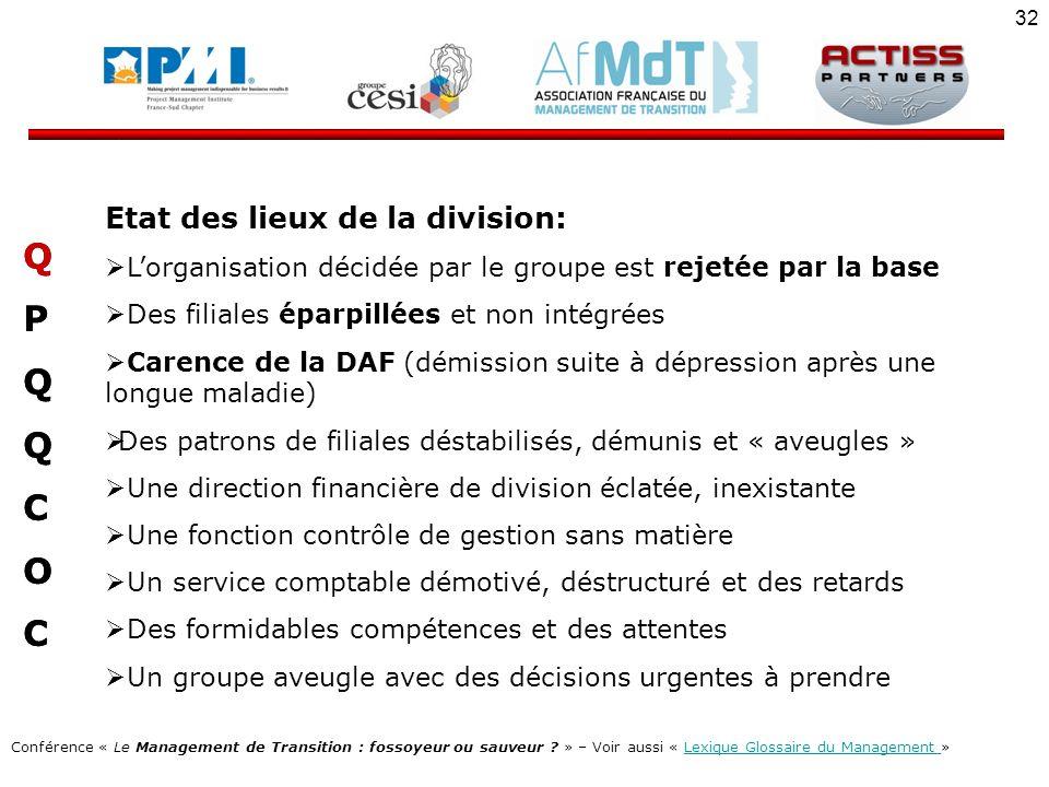 Q P C O Etat des lieux de la division: