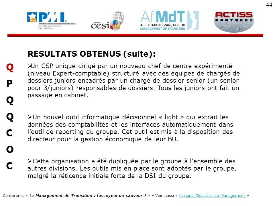 Q P C O RESULTATS OBTENUS (suite):