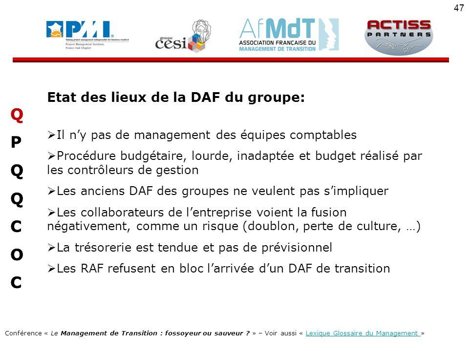 Q P C O Etat des lieux de la DAF du groupe: