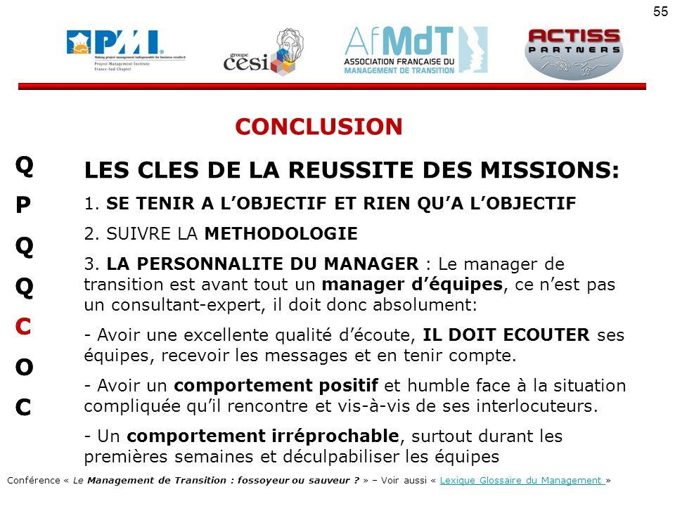 LES CLES DE LA REUSSITE DES MISSIONS: