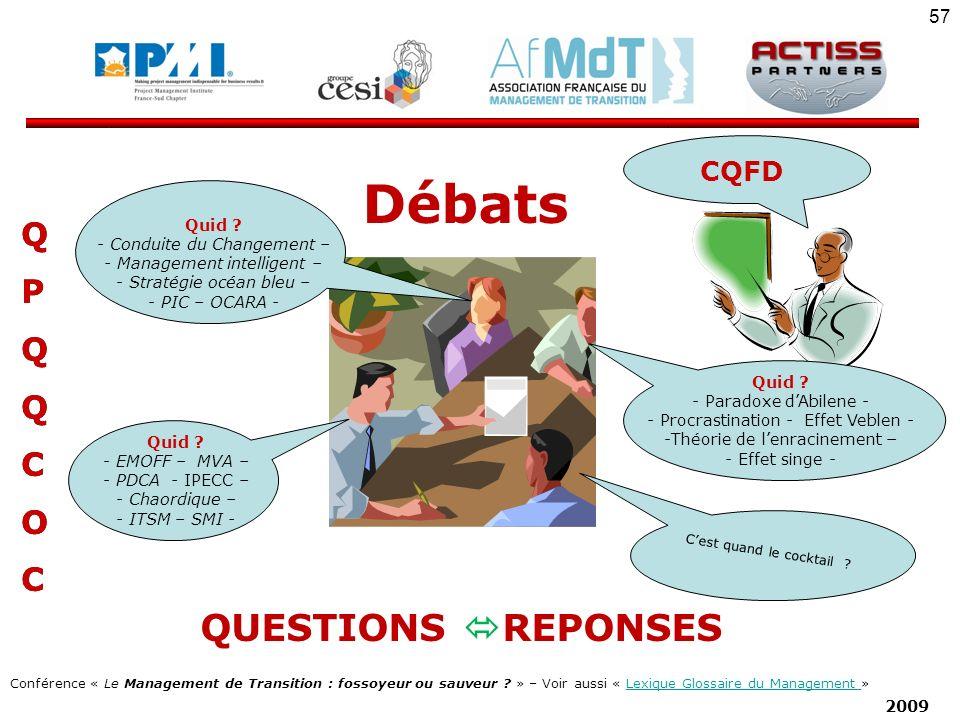Débats QUESTIONS REPONSES Q P C O CQFD Quid