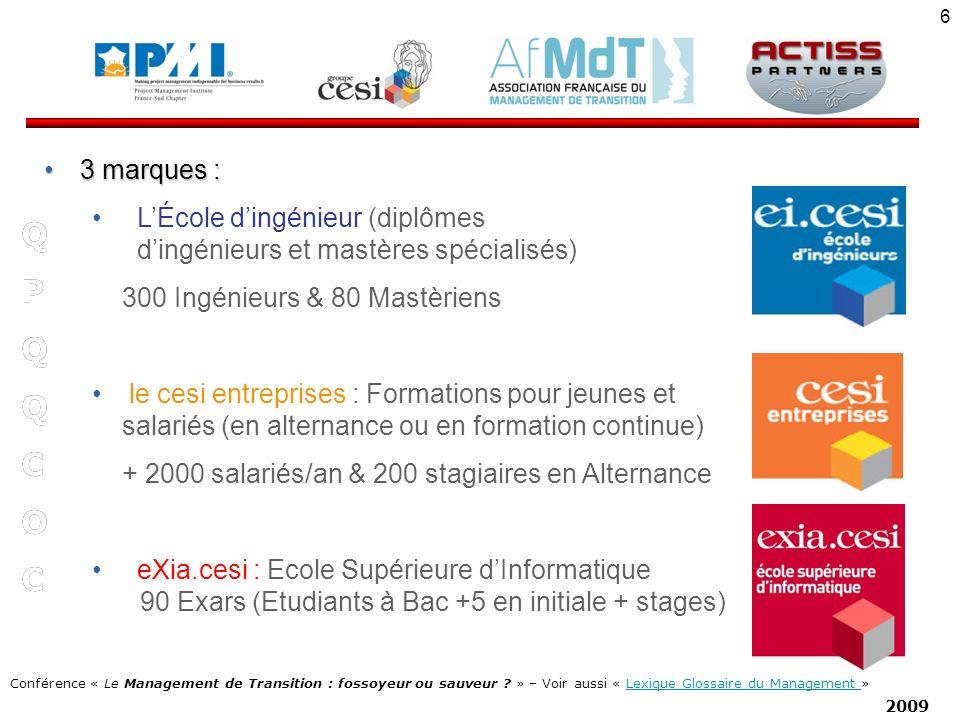3 marques : L'École d'ingénieur (diplômes d'ingénieurs et mastères spécialisés) 300 Ingénieurs & 80 Mastèriens.