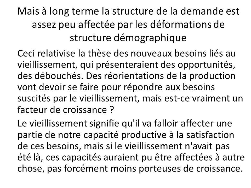 Mais à long terme la structure de la demande est assez peu affectée par les déformations de structure démographique