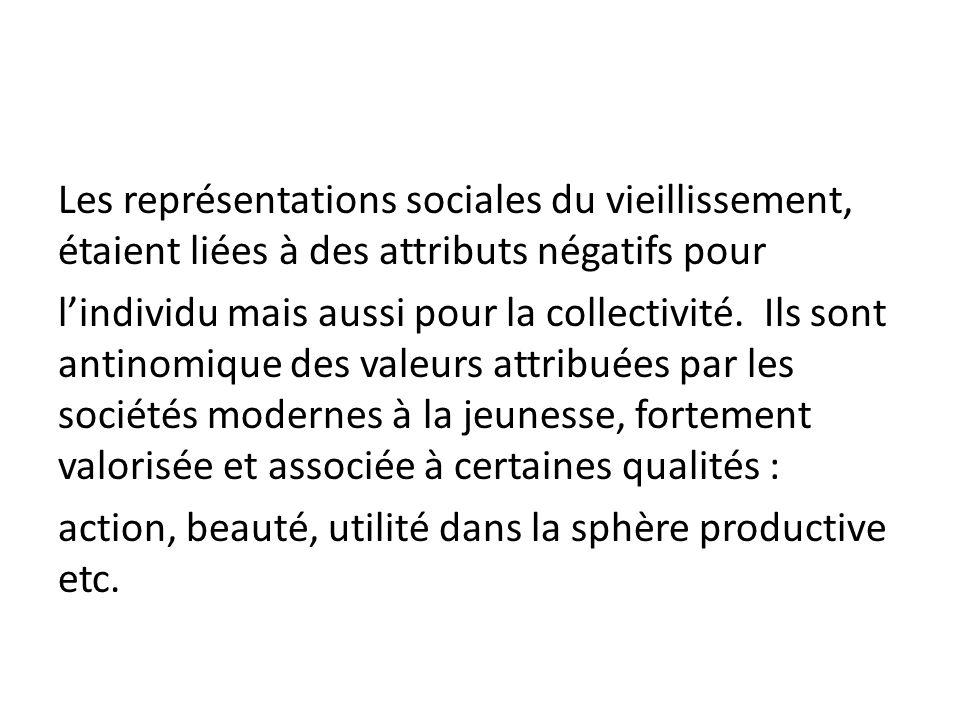 Les représentations sociales du vieillissement, étaient liées à des attributs négatifs pour l'individu mais aussi pour la collectivité.