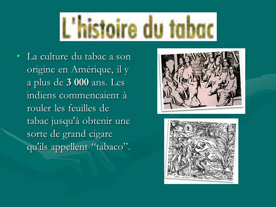 La culture du tabac a son origine en Amérique, il y a plus de 3 000 ans.