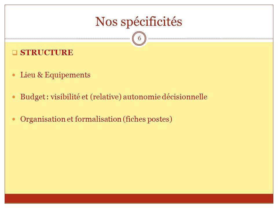 Nos spécificités STRUCTURE Lieu & Equipements