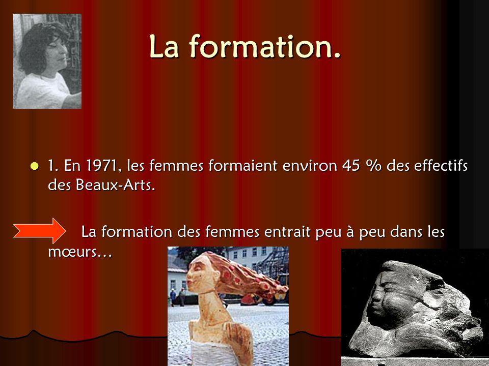 La formation. 1. En 1971, les femmes formaient environ 45 % des effectifs des Beaux-Arts. La formation des femmes entrait peu à peu dans les mœurs…