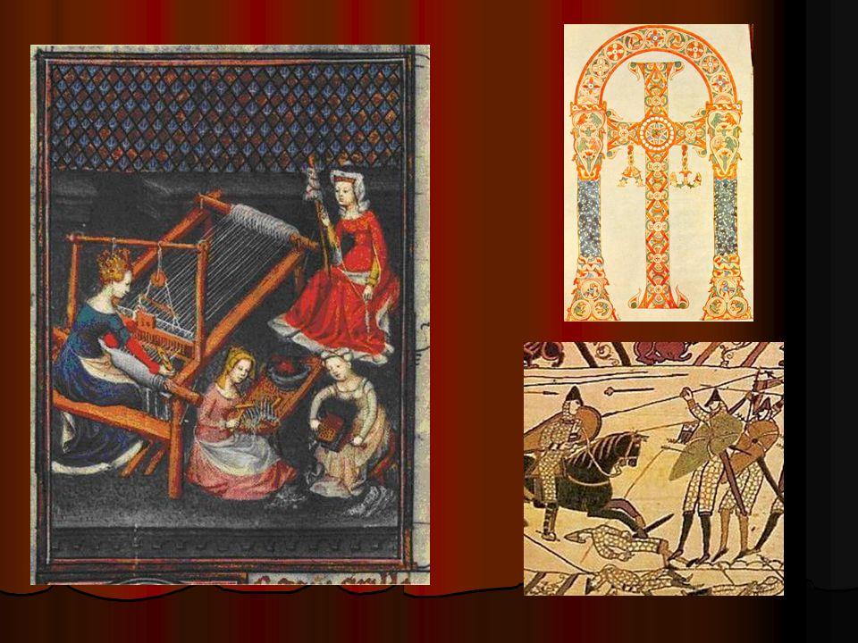 Broderie représentant un atelier de tissage du Moyen-Âge.