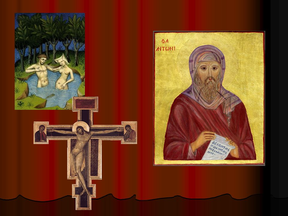 Les Jardins de Déduit. Crucifixion en bois peinte. Icône de Saint Antoine le Grand.