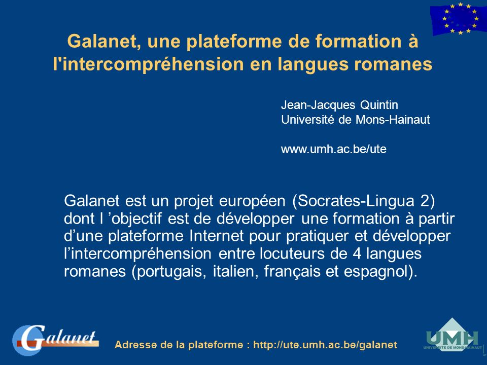 Galanet, une plateforme de formation à l intercompréhension en langues romanes