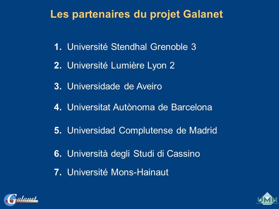 Les partenaires du projet Galanet