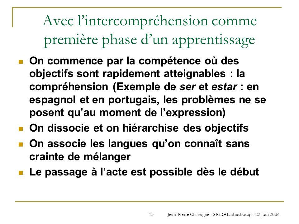 Avec l'intercompréhension comme première phase d'un apprentissage