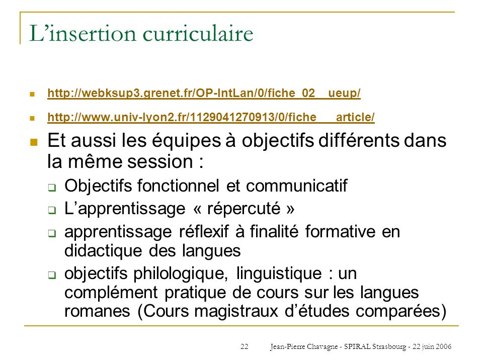 L'insertion curriculaire
