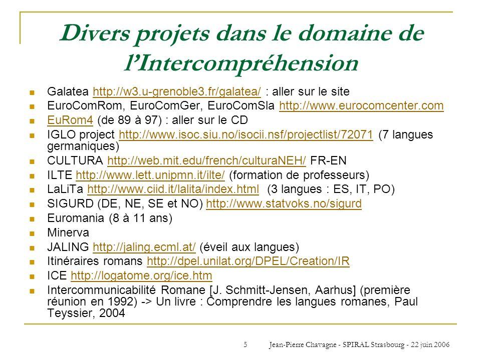 Divers projets dans le domaine de l'Intercompréhension