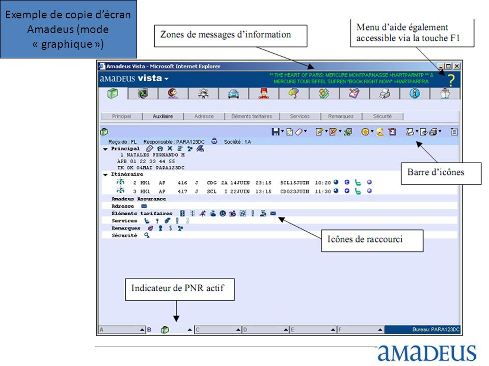 Exemple de copie d'écran Amadeus (mode « graphique »)