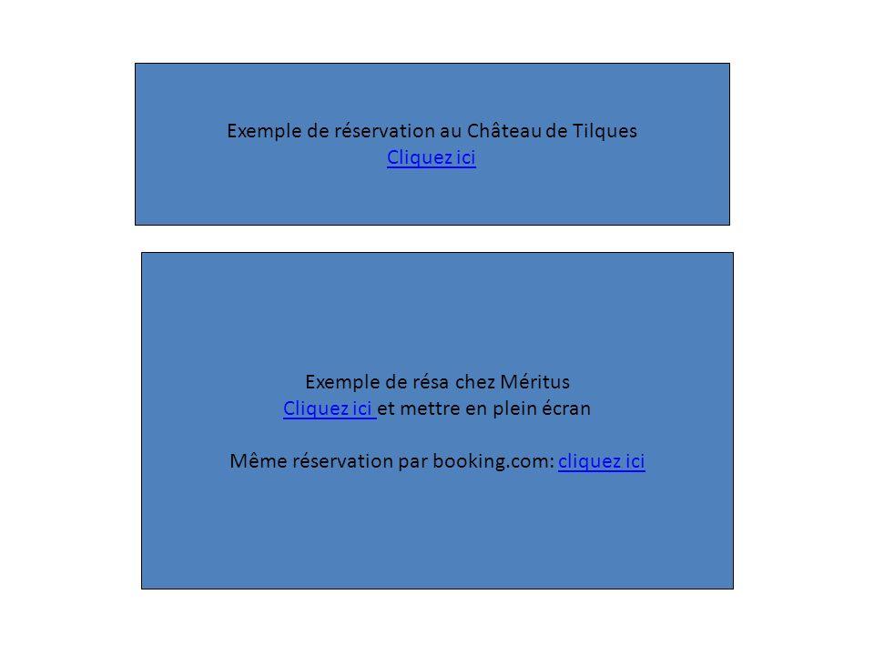 Exemple de réservation au Château de Tilques Cliquez ici