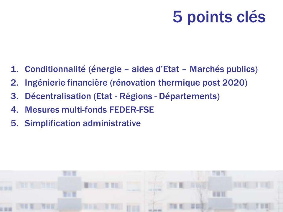 5 points clés Conditionnalité (énergie – aides d'Etat – Marchés publics) Ingénierie financière (rénovation thermique post 2020)