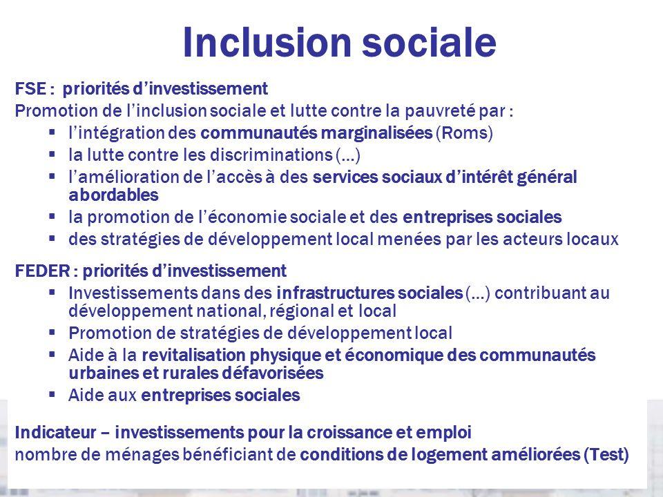 Inclusion sociale FSE : priorités d'investissement