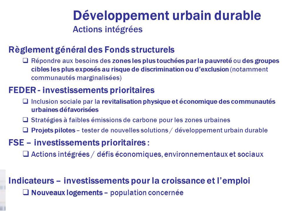 Développement urbain durable Actions intégrées