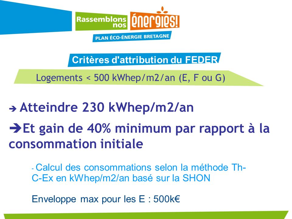 Logements < 500 kWhep/m2/an (E, F ou G)
