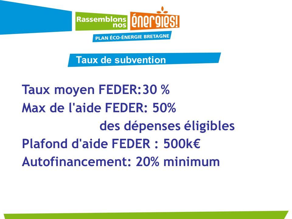 des dépenses éligibles Plafond d aide FEDER : 500k€