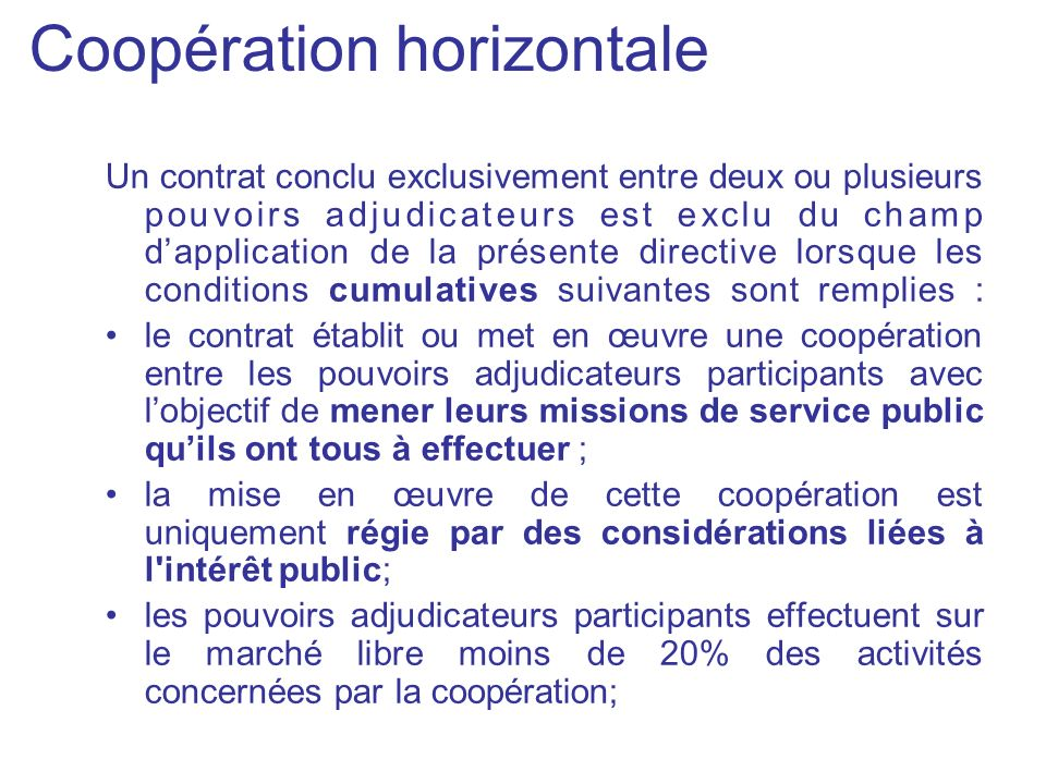 Coopération horizontale