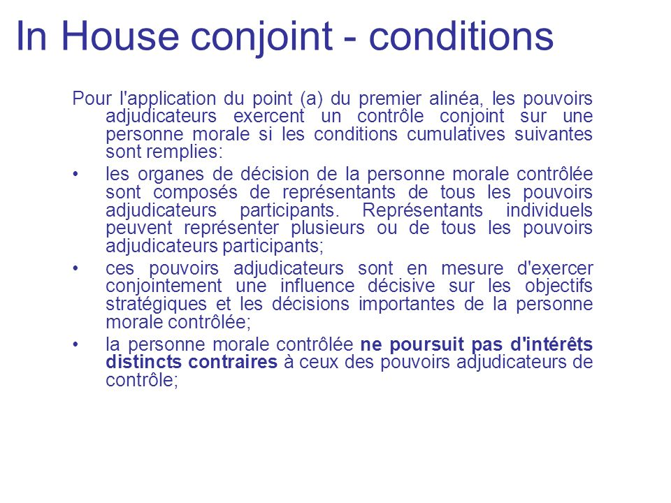 In House conjoint - conditions