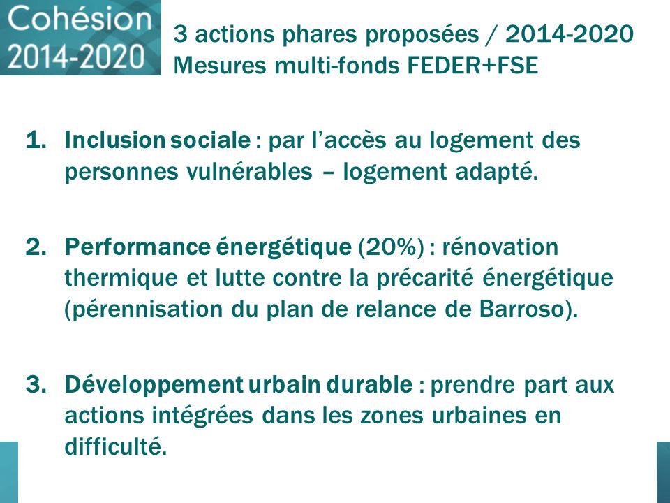 3 actions phares proposées / 2014-2020 Mesures multi-fonds FEDER+FSE