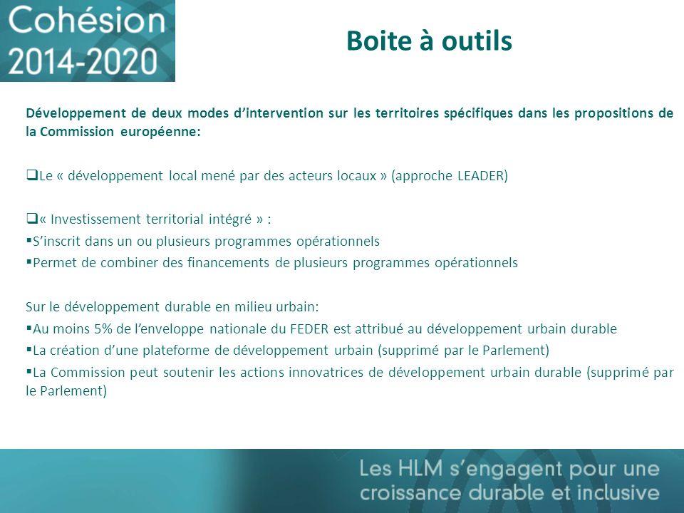Boite à outils Développement de deux modes d'intervention sur les territoires spécifiques dans les propositions de la Commission européenne: