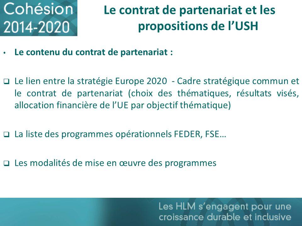 Le contrat de partenariat et les propositions de l'USH
