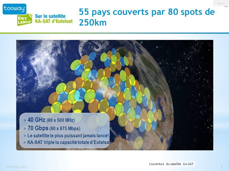 55 pays couverts par 80 spots de 250km