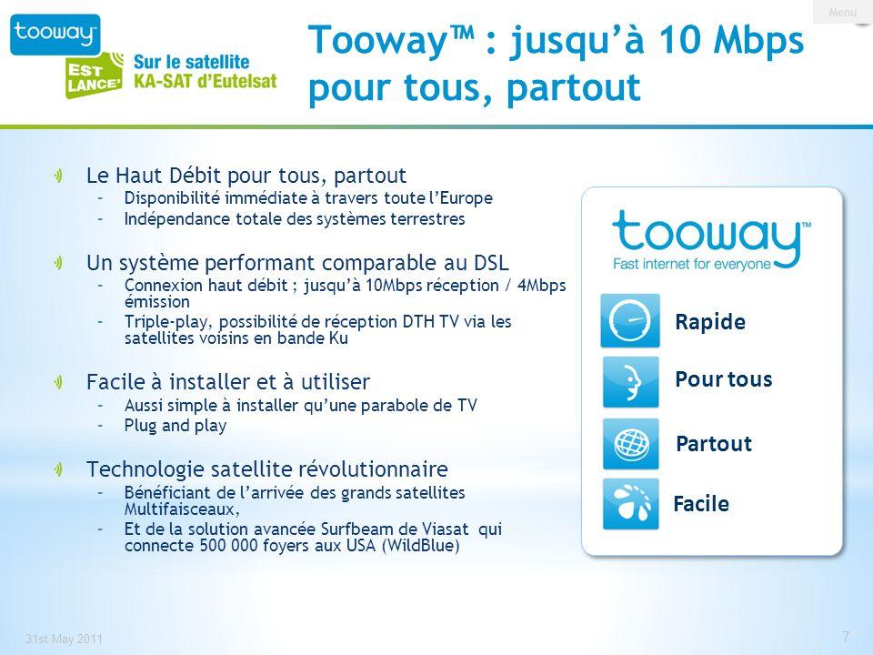 Tooway™ : jusqu'à 10 Mbps pour tous, partout