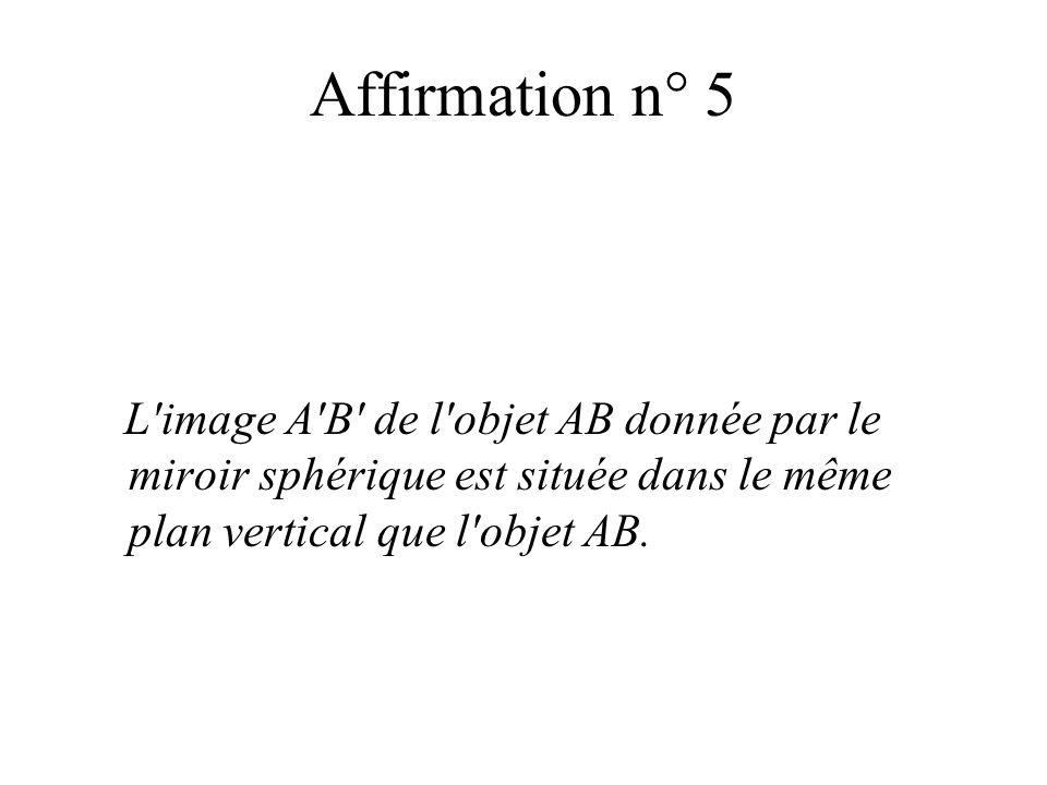 Affirmation n° 5L image A B de l objet AB donnée par le miroir sphérique est située dans le même plan vertical que l objet AB.