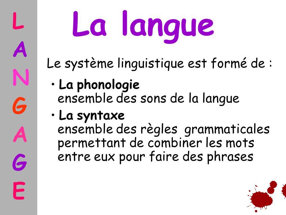 La langue L A N G E Le système linguistique est formé de :
