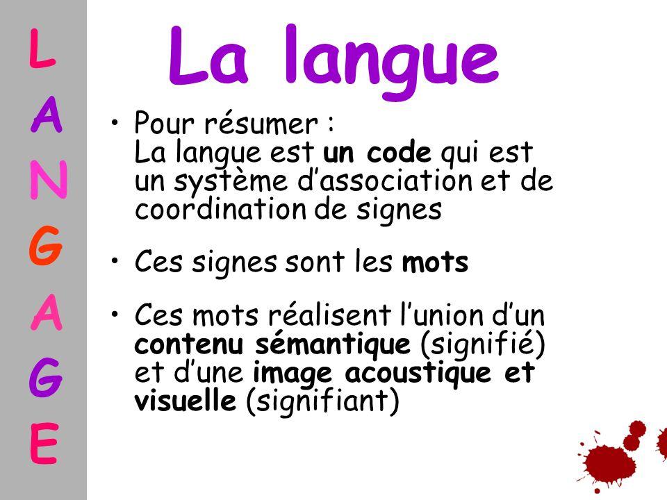 L A. N. G. E. La langue. Pour résumer : La langue est un code qui est un système d'association et de coordination de signes.