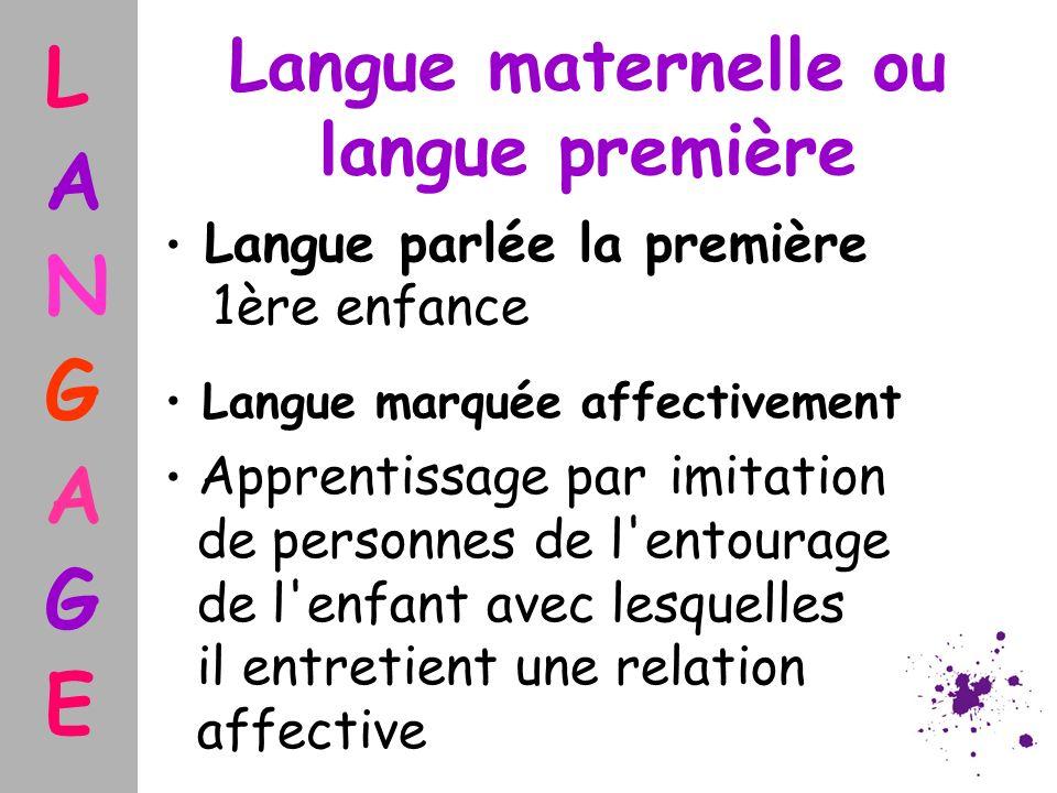 Langue maternelle ou langue première