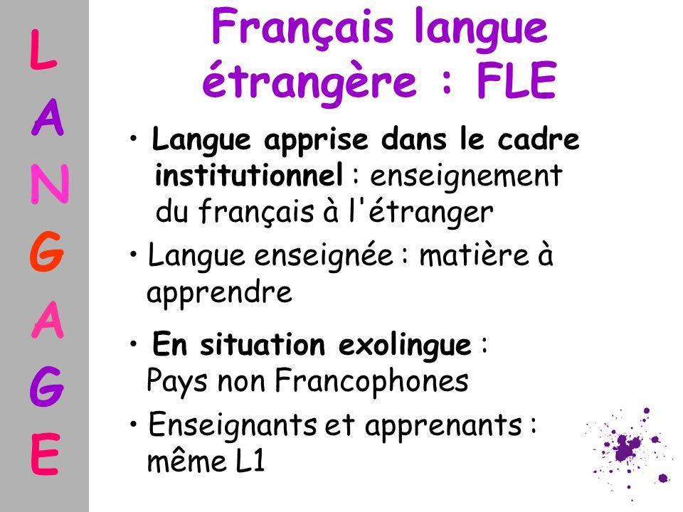 Français langue étrangère : FLE