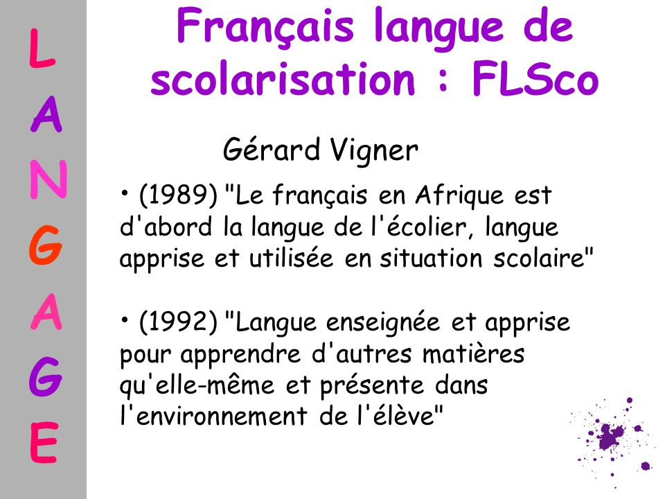 Français langue de scolarisation : FLSco
