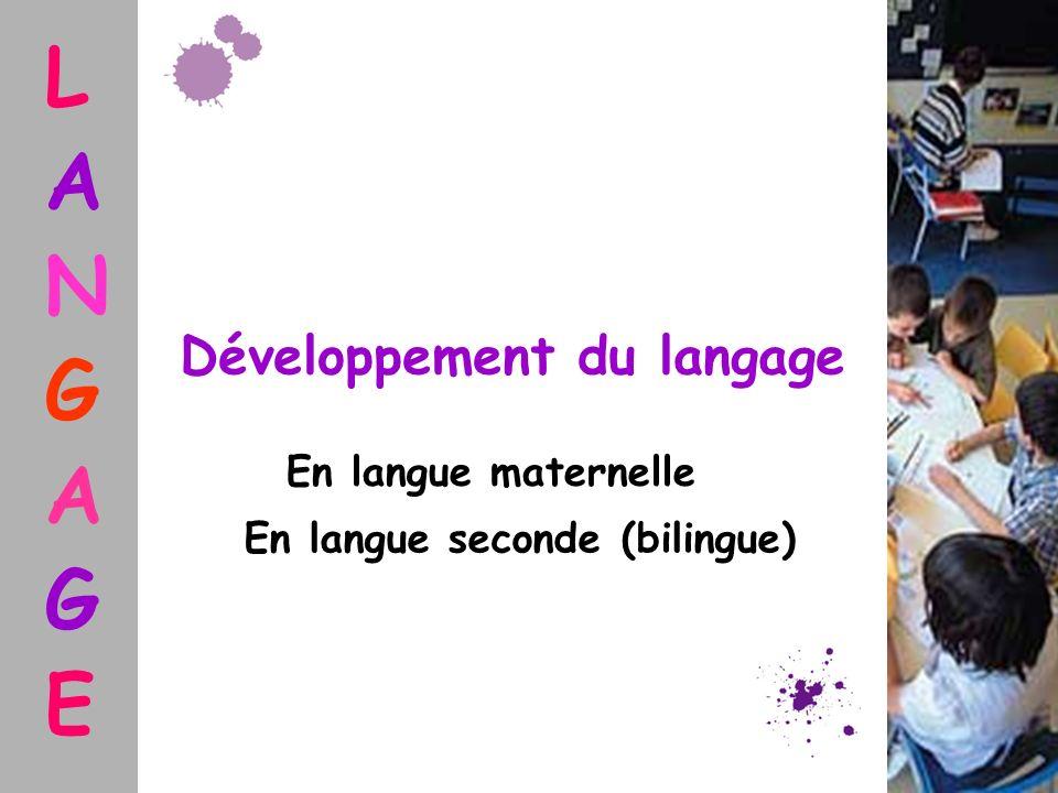 Développement du langage En langue seconde (bilingue)
