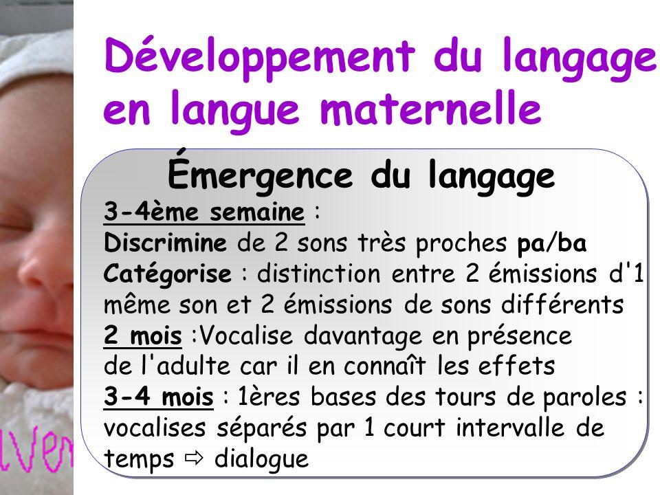 Développement du langage en langue maternelle